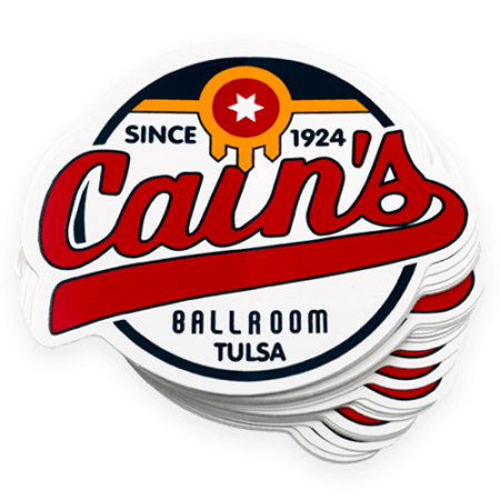 Cains ballroom die cut sticker to be used for promotional purposes